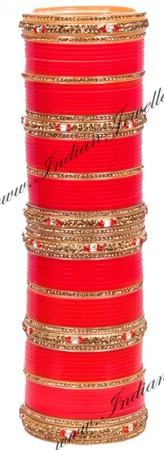 Antique Bright Red Wedding Chura, 2.4 UARC10191