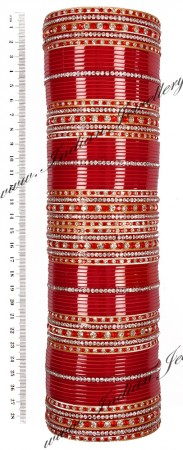 RIMI Bright Red Wedding Chura, 2-Hands, 2.8 UGRC03501