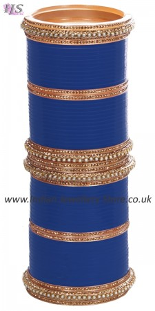 Royal Blue Indian Wedding Chura & Champagne Crystal Bangles 2.6 UALC11577