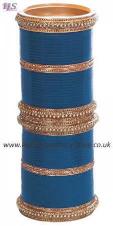 Ocean Blue Indian Wedding Chura & Champagne Crystal Bangles 2.6 UALC11580