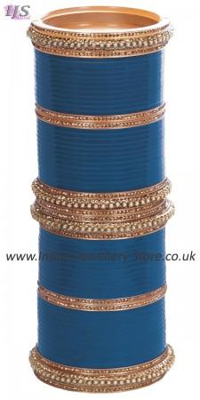 Ocean Blue Indian Wedding Chura & Champagne Crystal Bangles 2.4 UALC11581