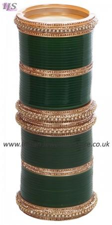 Bottle Green Pakistani Wedding Chura & Champagne Crystal Bangles 2.6 UAGC11583