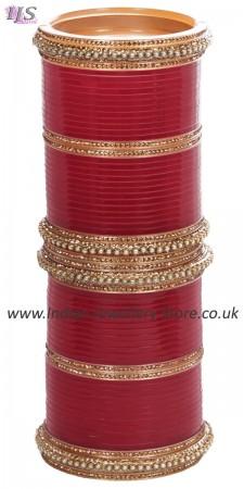 Maroon Red Asian Wedding Chura & Champagne Crystal Bangles 2.8 UARC11585