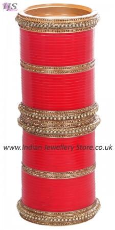 Bright Red Asian Wedding Chura & Champagne Crystal Bangles 2.8 UARC11588