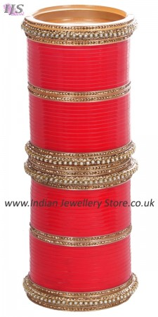 Bright Red Asian Wedding Chura & Champagne Crystal Bangles 2.4 UARC11590