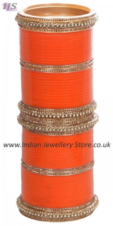 Orange Indian Wedding Chura & Champagne Crystal Bangles 2.4 UAOC11596