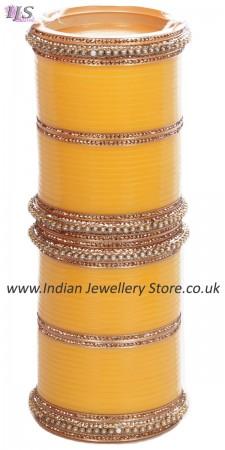 Yellow Indian Wedding Chura & Champagne Crystal Bangles 2.8 UAYC11597