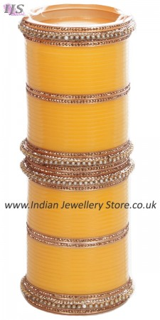 Yellow Indian Wedding Chura & Champagne Crystal Bangles 2.4 UAYC11599