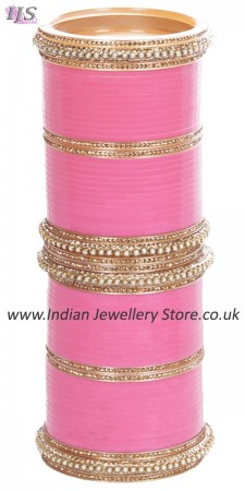 Baby Pink Indian Wedding Chura & Champagne Crystal Bangles 2.6 UAPC11604