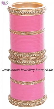 Baby Pink Indian Wedding Chura & Champagne Crystal Bangles 2.4 UAPC11605