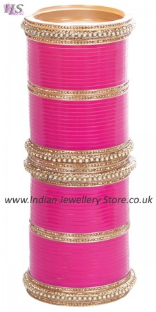 Fuchsia Pink Indian Wedding Chura & Champagne Crystal Bangles 2.8 UAPC11606