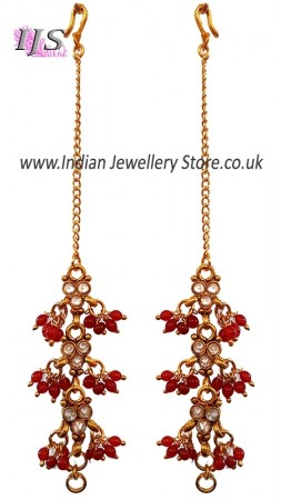 Bright Red Beaded Sahara Chains EERA11018