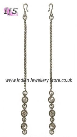 Silver, Simple Chain & CZ Diamond Asian Saharas (Ear Chains) ESWA11024