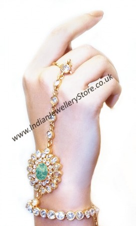 Mint Green & Gold Indian Hand Jewellery Online