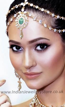 Mint Green 2-line Matha Patti - Anushka DEGA10481