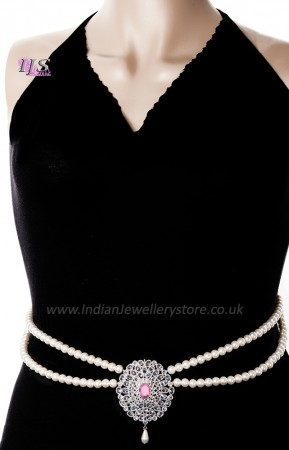 Silver Pearl & American Diamond Saree Belt LSWL11376C