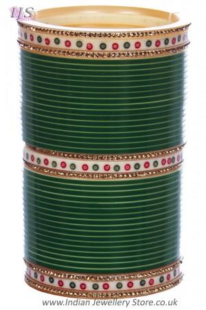 Traditional Punjabi, Dotted Champgne Crystal Wedding Chura - Green UEGC11803C
