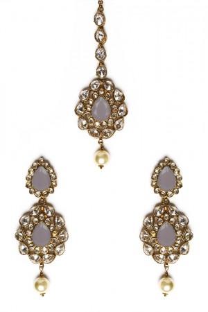American Diamond, Antique Indian Earrings & Tikka - grey IAEA11569