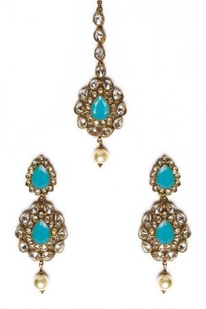 American Diamond, Antique Indian Earrings & Tikka - sky blue IALA11570