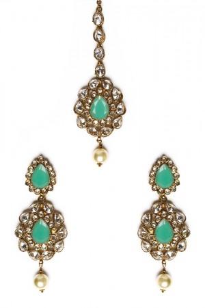 American Diamond, Antique Indian Earrings & Tikka - mint green IAGA11571