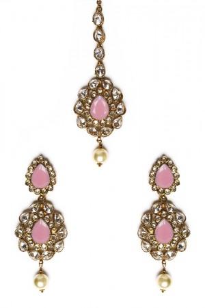American Diamond, Antique Indian Earrings & Tikka - baby pink IAPA11573
