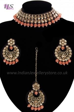 Antique Flexible Indian Jewellery Set - coral orange NAOK11502