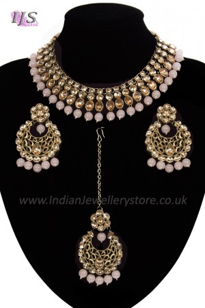 Antique Flexible Indian Jewellery Set - blush, nude NAPK11507