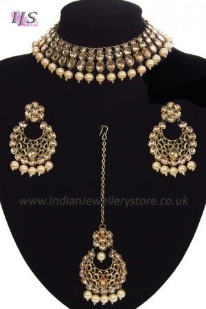 Antique Flexible Indian Jewellery Set - golden champagne (lct) NANK11509