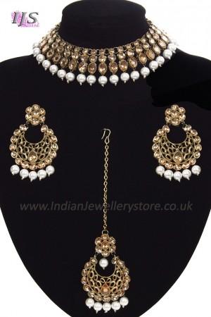 Antique Flexible Indian Jewellery Set - pearl NAWK11502