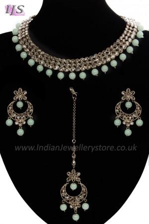 Elegant Antique American Diamond Indian Jewellery Set - Mint Green NAGA11536