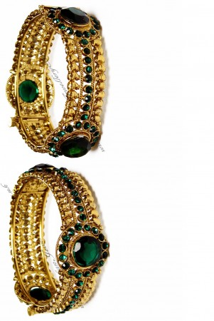 Green Indian Bangles - Pair of Karas