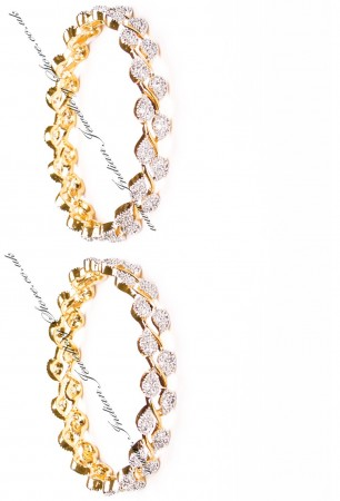 2x Leaf Gold Effect Bangles, 2.6 WGWA03624