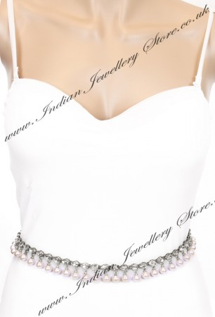 Silver & Pearl Indian Saree Belt