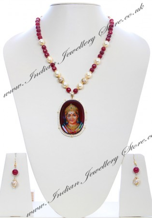 Large Indian God/ Godess / Pooja Pendant Mala - Lakshmi NGRC04786