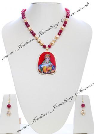 Large Indian God/ Goddess / Pooja Pendant Mala - Ganesh NGRC04787
