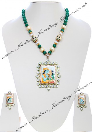 Large Indian God/ Goddess / Pooja Pendant Mala - Radha Krishna Couple NGGK04789