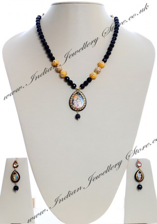 Medium Indian God/ Goddess / Pooja Pendant Mala - Radha Krishna Couple NGBK04791