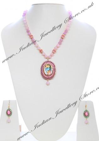 Medium Indian God/ Goddess / Pooja Pendant Mala - Radha Krishna Couple NGMK04793