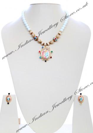 Medium Indian God/ Goddess / Pooja Pendant Mala - Radha Krishna Couple NGMK04794