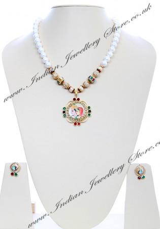 Medium Indian God/ Goddess / Pooja Pendant Mala - Radha Krishna Couple NGMK04795