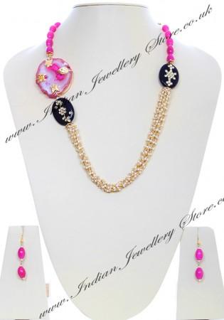Pink stone Pendant Mala NGPK04798