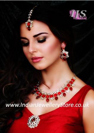 Contemporatry Kundan Necklace Set- Aslesha NARK10682C