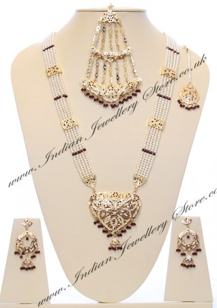 Purple Vintage Gold & Pearl Rani Haar Set NGUP03078