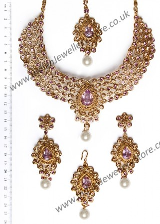 Lilac Necklace Set - Nazreen NAUC10444