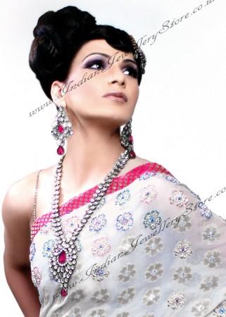 Silver Jhumar & Rani Haar set - RONA NSWK10540C