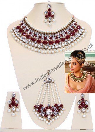 Bollywood Pearl Necklace Set BALL10514C
