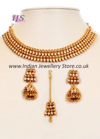 22k Effect Collar Necklace Set NGWN10052