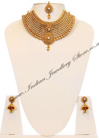 22k Effect Collar Large Necklace Set BGWK10053