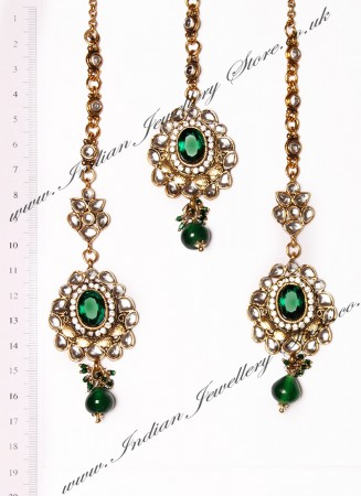 RAMEEKA Earrings and Tikka IAGK03466