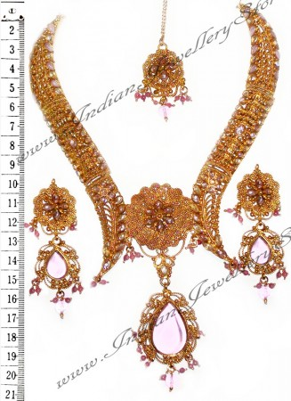 Pink Necklace Set NGPP0693